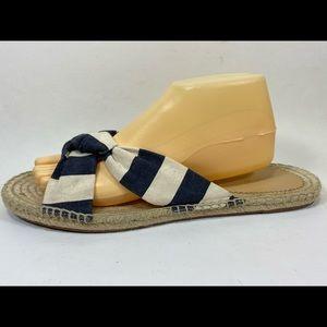 J Crew Blue & Cream Sandals Sz 12M Canvas Striped